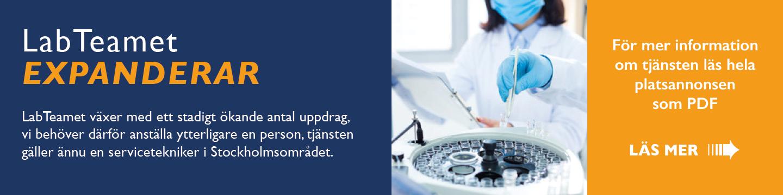 LabTeamet utökar - vi söker ytterligare en servicetekniker/produktspecalist i Göteborg