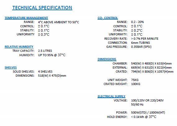 CO2-inkubator_GS-Biotech_170L-Gold_teknisk-specifikation