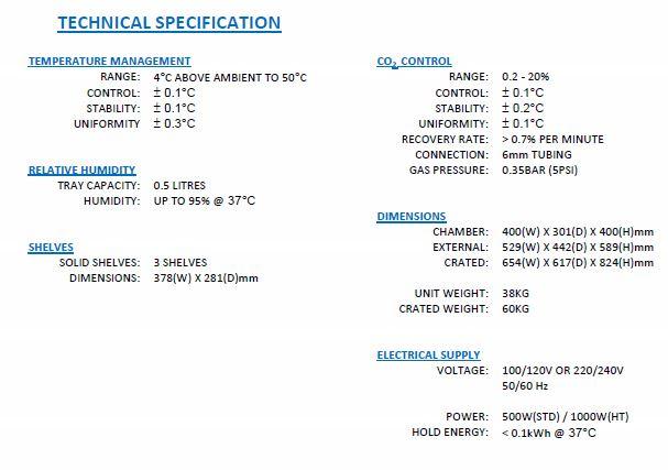CO2-inkubator_GS-Biotech_teknisk-specifikation